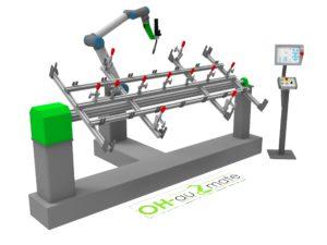 Universal Robots mit Schweissvorrichtung und Drehpositionierer